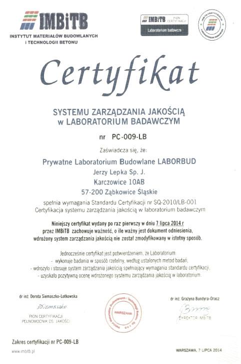 Certyfikat Systemu Zarządzania Jakością w Laboratorium Badawczym
